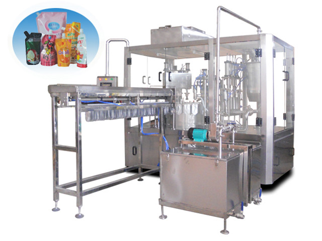 automatic Stand up spout bags filling capping machine with bag loading system for juice liquid jelly milk packaging automated bags filler sealer equipment