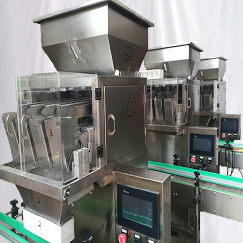 4 heads Granules filling machine semi automatic with Bucket conveyor feeding system linear weigher filler equipment for spice flavour seeds