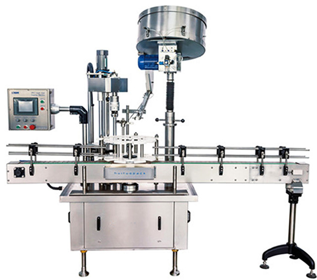 single head capping machine with caps sorter feeding system.