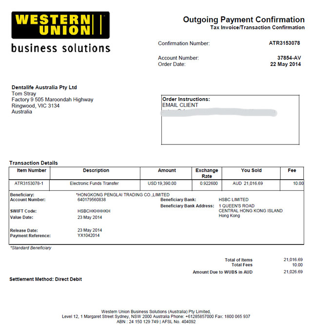 payment by western union for the  YX-W1000 water purificatio