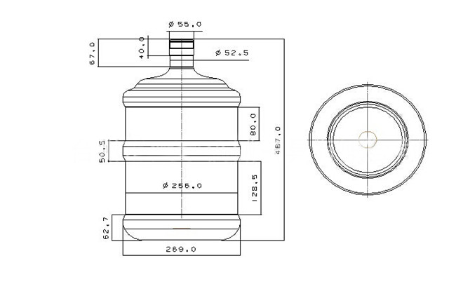 dimensions of 5 gallon containers mineral water bottles blow