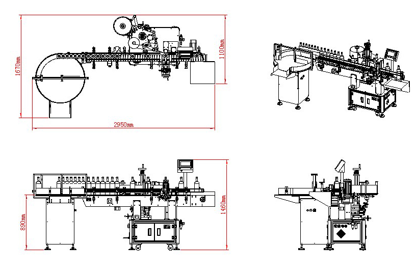 dimension and drawing of automatic labelling machine with ro