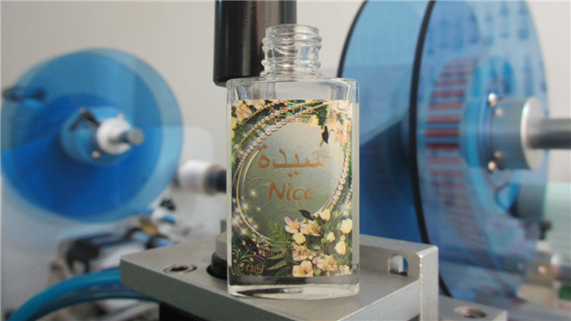 final finished products by  perfume bottles labeling machine
