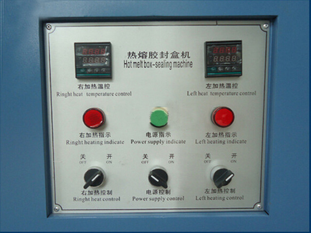 control panel of semi-automatic hot melt glue box sealing ma