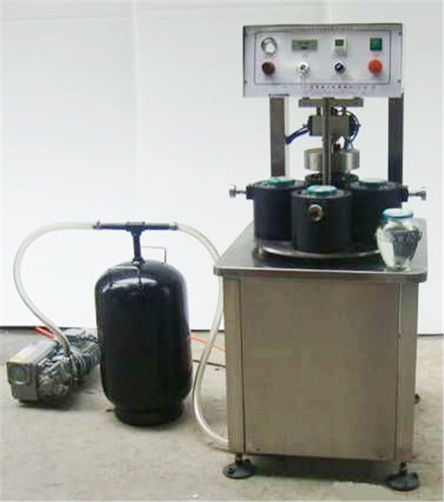 semi automatic vacuum capping machine for glass jars pepper sauce container vacuum screw capper equipment with 4 capping heads