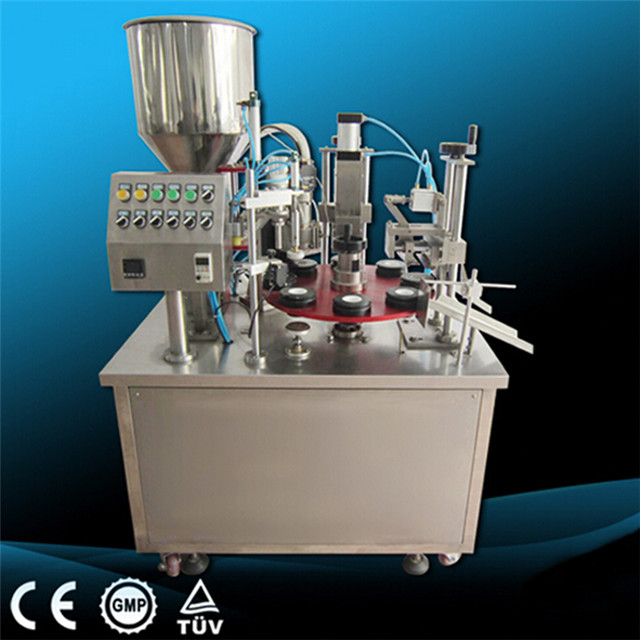 filling sealing machine for paste tubes cream containers lotion honey ointment,balm,wax polish,toothpaste semi automatic filler and sealer equipments for cosmetics pharmaceutical packaging