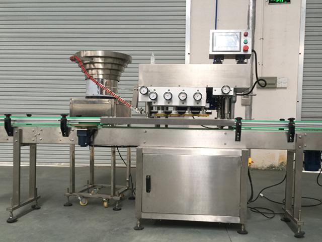 China high speed screw capping machines cap tighteners Glass plastic bottles screw capper equipment linear with Touch screen control system cost effective lidding machinery