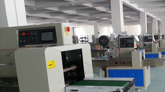 workshop of Computer control fast pillow packing machine dow